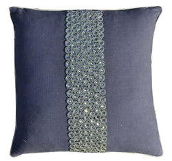 Charcoal Pillow With Center Stripe Of Silver Sequins