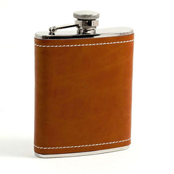 Stainless Steel Tan Leather Flask