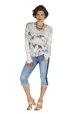 Butterfly Sweater with Crystal Accents