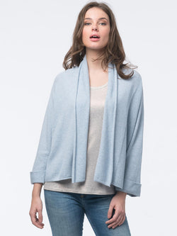Light Blue Cropped Cotton Cardigan with Shawl Collar