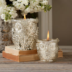 Antiqued Silver Owl Candleholders Filled with Wax 2 Sizes