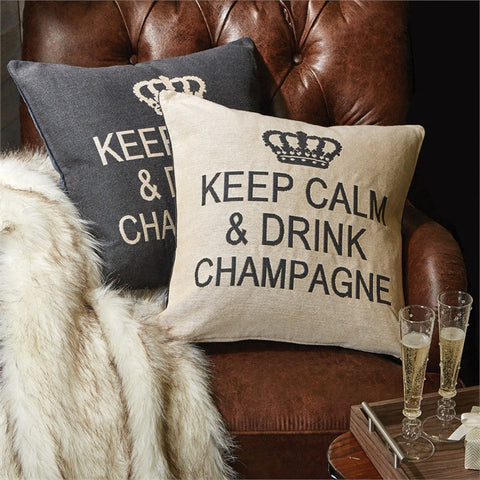 Keep Calm and Drink Champagne Embroidered Pillows
