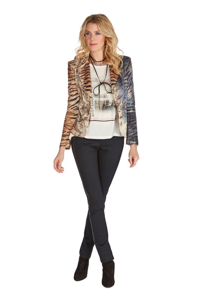 Animal Print Jacket with Embellishments