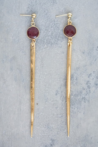 Jada Ruby Gold Bezel Earring