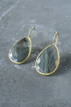Ashton Lab. Pear Bezel Earrings
