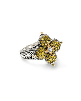 Barbara Bixby Pave' Yellow Sapphaire Lotus Ring Sterling Silver 18K