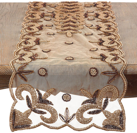 Hand Beaded Gold Table Runner