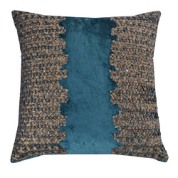 Teal Velvet Pillow With Gold Beadwork