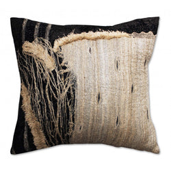 Alder Black Silk Pillow with Applique