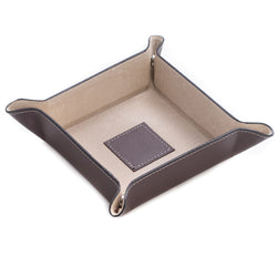 Brown Leather Change Valet Tray