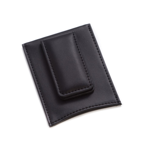 Black Leather Magnetic Money Clip & Wallet