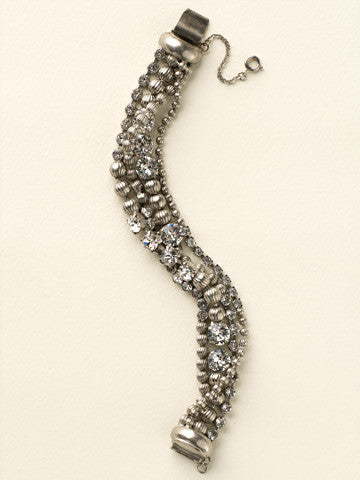 Multi-Strand Crystal and Corrugated Ball Chain Bracelet in Clear Crystal