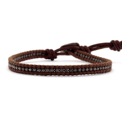 Gunmetal Nugget Single Wrap Bracelet On Red Brown Leather
