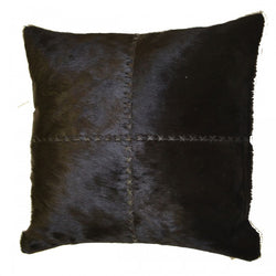 Black Hairon Leather with Cross Stitch Pillow