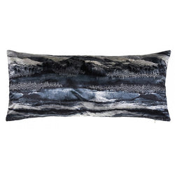 Capri Charcoal, Grey and Ivory Tie Dye Pillow with Metallic Embroidery