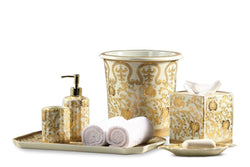 Cream and Gold Scrolls Pattern Bathroom Set of 6