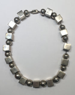 Sterling Silver Cube and Sharpe Necklace