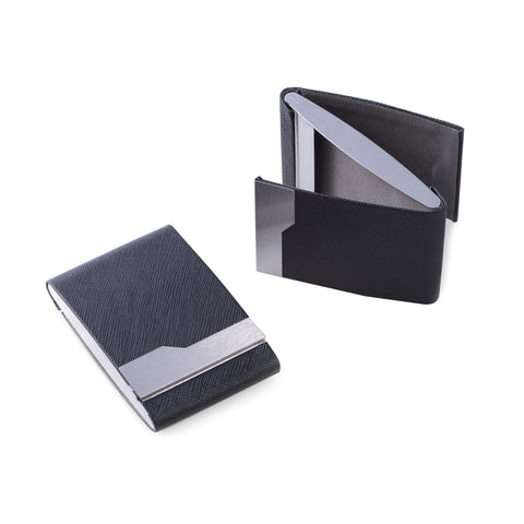Black Leatherette Double Compartment Card Case with Magnetic Closure