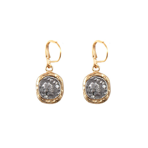 Gold Pavia Coin and Frame Dangle Earrings