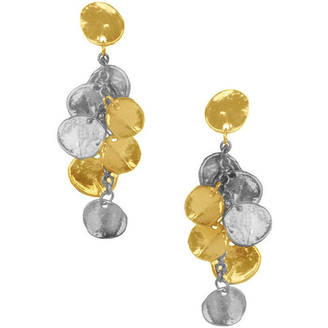 Mixed Gold & Silver Tiered Teardrop-Shaped Pendant Earrings