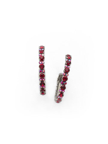 Prongless Crystal Hoop Earring in Cranberry