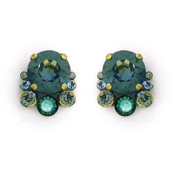 Multi-Cut Round Crystal Cluster Post Earrings in Crystal Patina