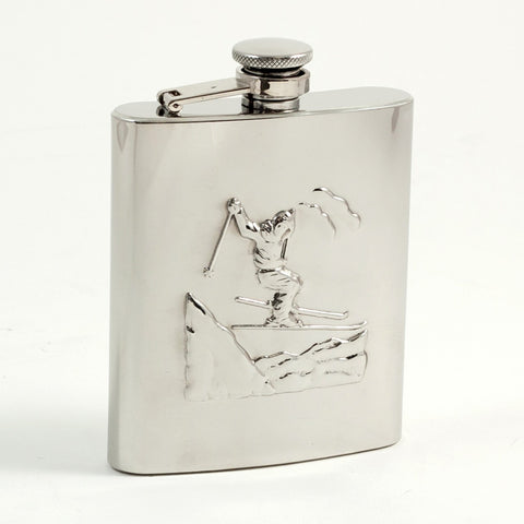 "Stainless Steel Flask with ""Ski"" Accent"