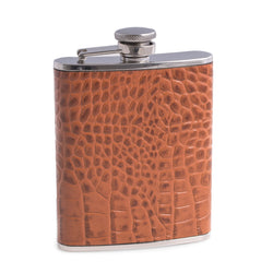 "Stainless Steel Flask in Brown ""Croco"" Leather"