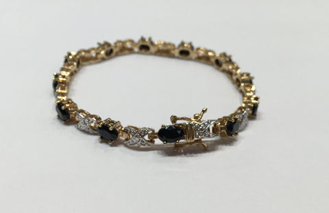 Gold and Sterling Silver Onyx Bracelet