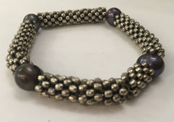 Silver Bracelet with Black Pearls
