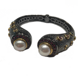 Clamper Braclet with Pearls and Semi-Precious Stones