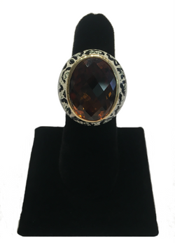 Sterling Silver and Gold Simak Smokey Quartz Ring