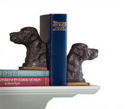 Bronze Lab Iron Bookends Pair