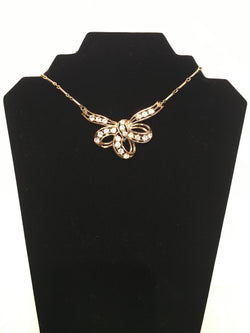Bow Necklace with Crystals