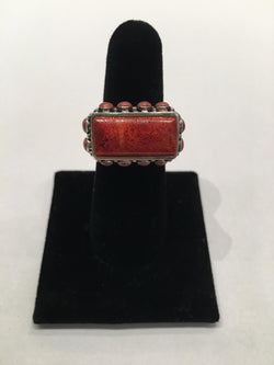 Red Turquoise Sterling Silver Ring