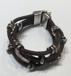 Multi-Strand Brown Leather Silver Bracelet