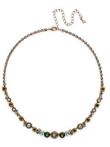 Macrame Line Necklace in Crystal Patina