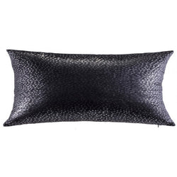 Nova - Charcoal Velvet Pillow with Silver Dots