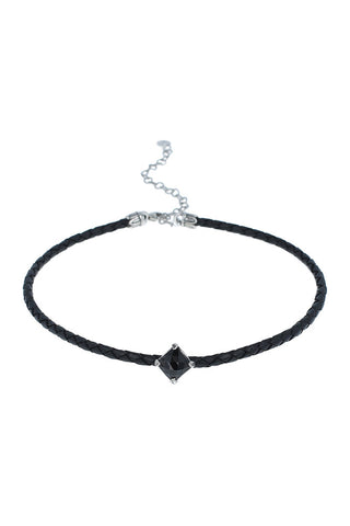 Hypersthene Choker on Black Leather