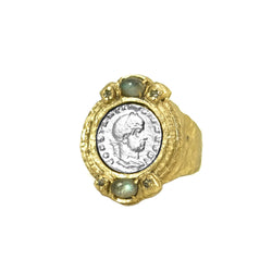 Gold and Vintage Silver Labradorite Coin Ring