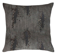 Charcoal Velvet Pillow With Gold Foil and Beadwork