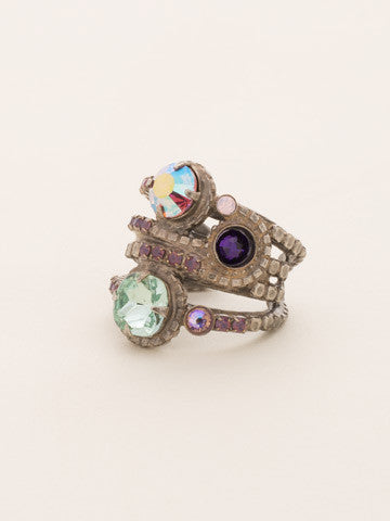 Stacked Crystal Ring in African Violet