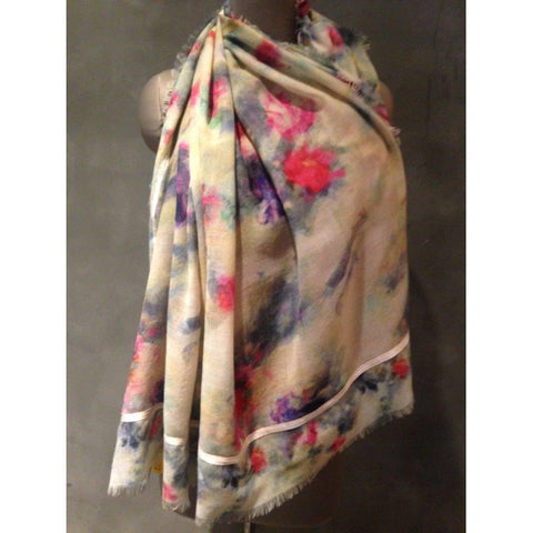 Floral Cream Wool Scarf with Floral Embroidery