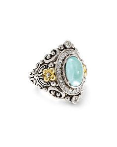 Barbara Bixby Blue Topaz Ring Sterling Silver 18K