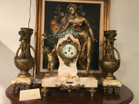 French 3-Piece Mantel Clock Set by Emile Bruchon