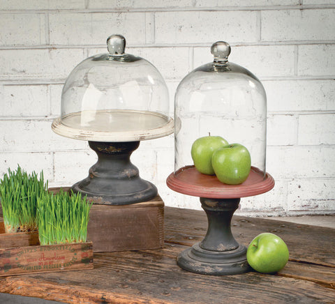 Wide Cream/Black Pedestal Stand with Glass Dome