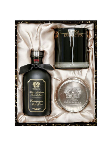 Limited Edition Black Label Champagne Gift Set 9 oz Round Candle and 250 ml Diffuser With Silver Tray