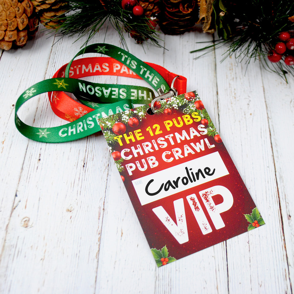 The 12 Pubs of Christmas Pub Crawl List Lanyards