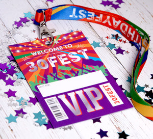 30FEST 30th Birthday Party Favours - Festival Lanyards