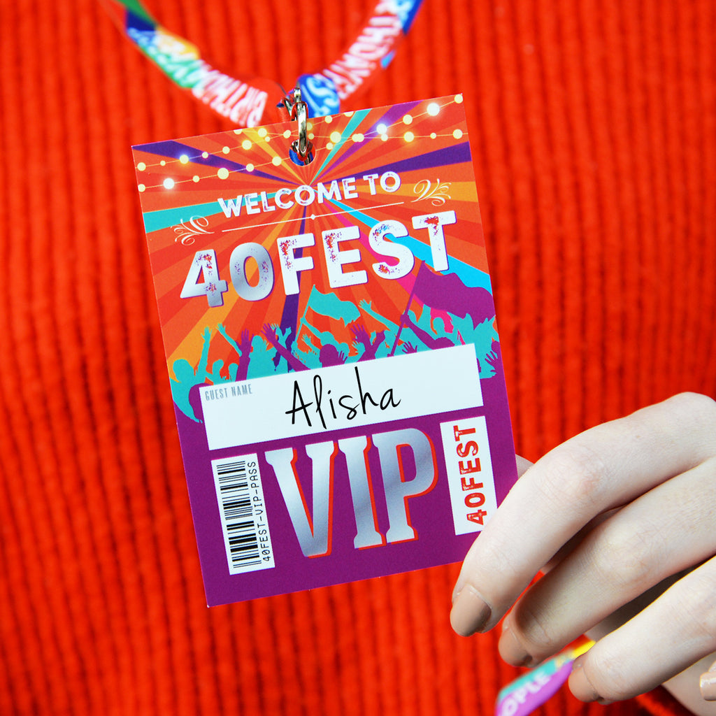 40FEST 40th Birthday Party Festival Style VIP Pass Lanyards